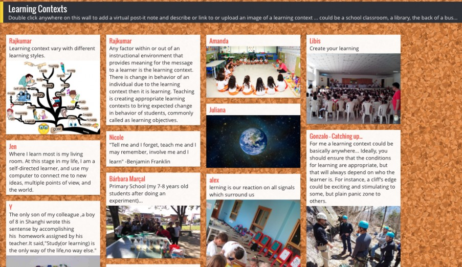 Padlet wall with images and reflective comments about learning in different contexts
